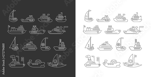 Foto op Plexiglas Abstractie Art Ship line art vector icon set