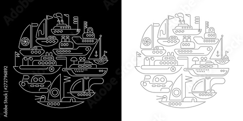 Fotoposter Abstractie Art Ships and Yachts round shape line art designs