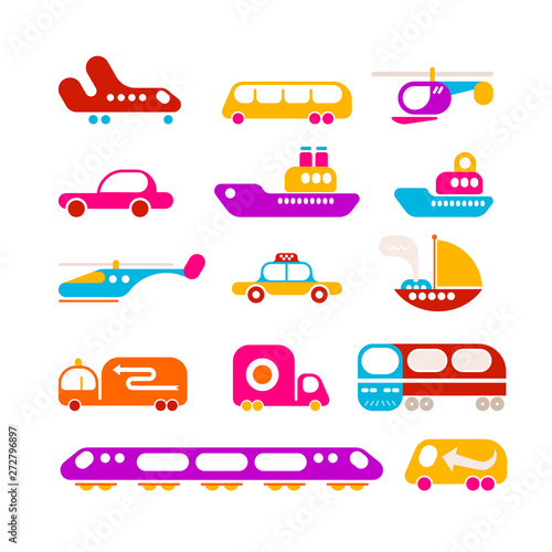 Foto op Plexiglas Abstractie Art Transportation vector icon set