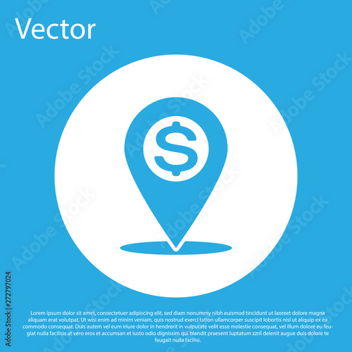 Blue Cash location pin icon isolated on blue background