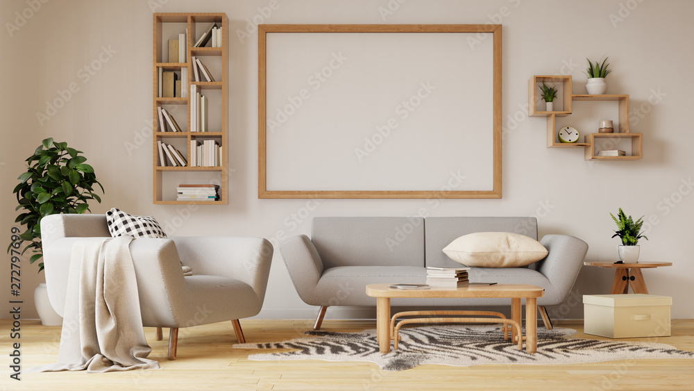 Fototapeta Interior poster mock up living room with colorful white sofa. 3D rendering.