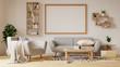 Leinwanddruck Bild - Interior poster mock up living room with colorful white sofa. 3D rendering.