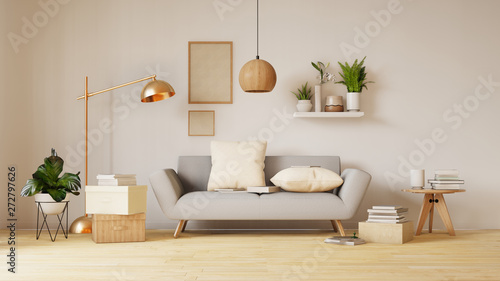 Fotografering  Modern living room interior with sofa and green plants,lamp,table on living