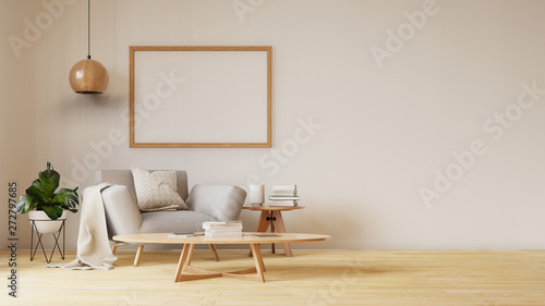 Interior poster mock up living room with colorful white sofa Tableau sur Toile