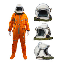 Astronaut With Helmets Isolated On A White Background. Cosmonaut Wearing Space Suit With Space Helmets On White Background