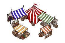Vector Isometric House. Old European Market. Vector Isolated Object On White