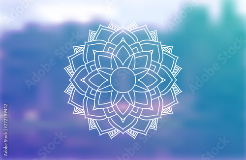 Meditation And Yoga Spiritual Sacred Geometry Background With Mandala And Blurred Calm Forest In The Background Psychedelic Natural Meditation Health Energy Abstract Yoga Design Banner Concept Buy This Stock Vector And