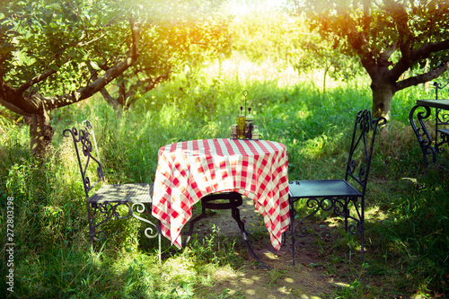 Table is set and waiting for dining in the countryside Canvas Print