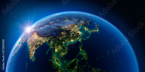 Canvas Print Earth at night and the light of cities. Asian countries.