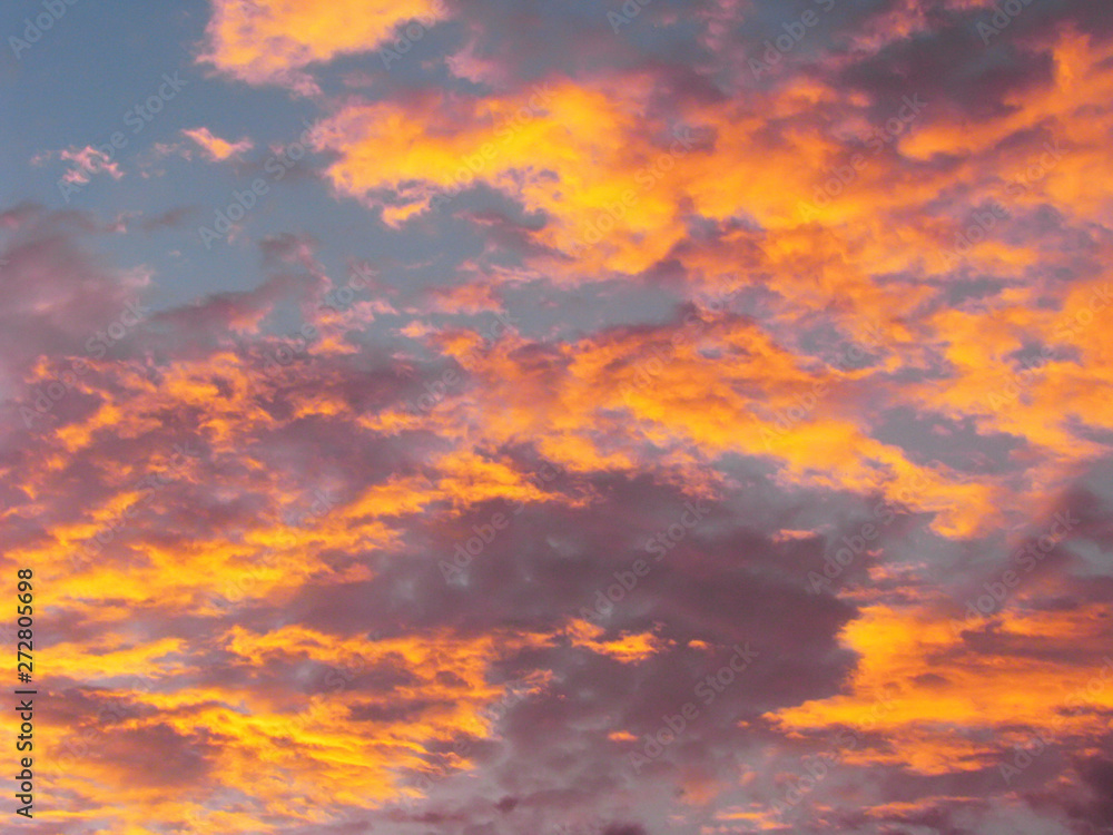Fototapety, obrazy: Dramatic sunset sky background with fiery clouds, yellow, orange and pink colors