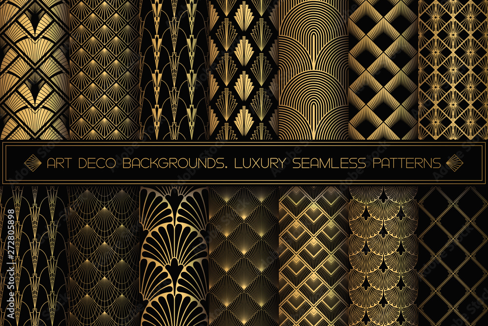 Fototapeta Art Deco Patterns. Seamless black and gold backgrounds.