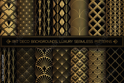 Photo  Art Deco Patterns. Seamless black and gold backgrounds.