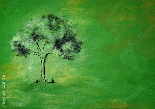Foto op Plexiglas Groene Lonely tree on a green background with golden hues. The concept of environmental protection.