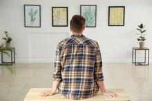 Man At Exhibition In Modern Ar...