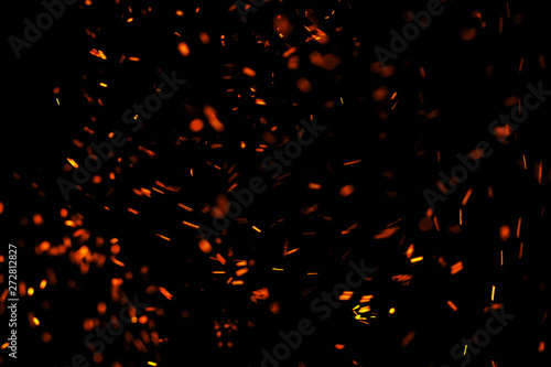 Poster Fire / Flame flame of fire with sparks on a black background