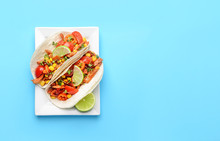 Plate With Tasty Tacos On Colo...