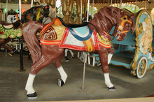 Brown Carousel Horse With Head Down