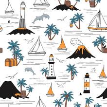 Stylized Sea. Hand-drawn Cute Boats And Lighthouses. Seamless Pattern.