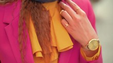 Close Up Of Fashion Details: Elegant Wrist Watch On The Woman`s Hand