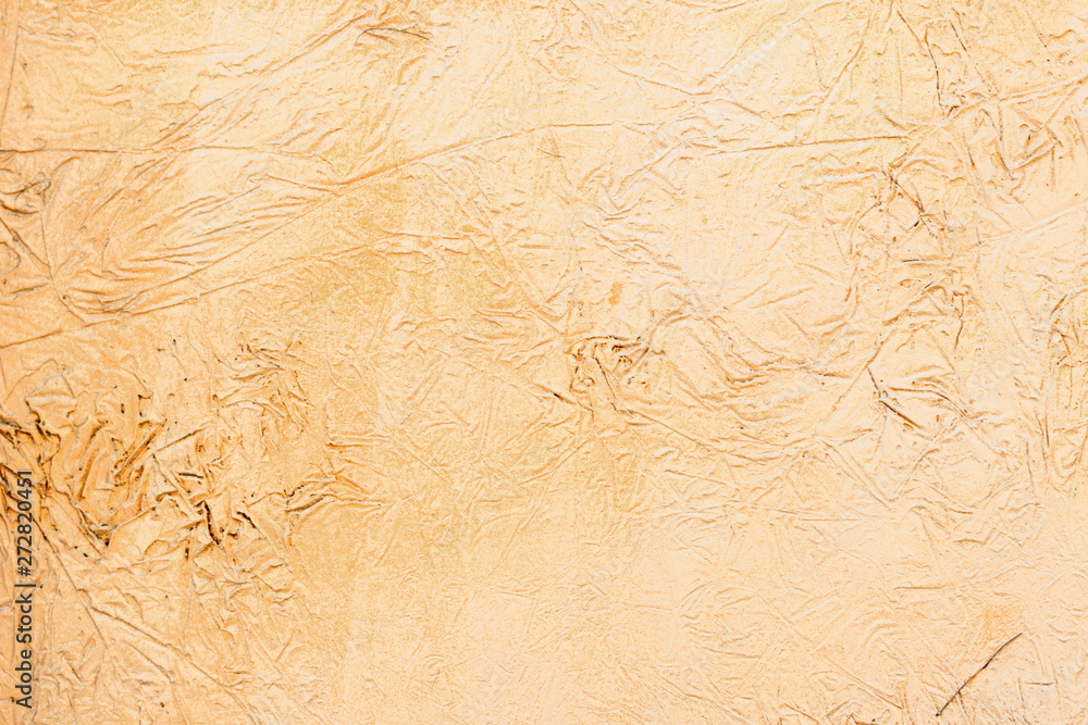 Fototapety, obrazy: Background of a yellow stucco coated and painted exterior, rough cast of cement and concrete wall texture