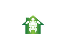 Turtle With Green Shell Swimming For Logo Design Illustration In A House Shape Home Icon