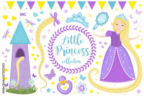 Photo  Cute little princess Rapunzel set objects