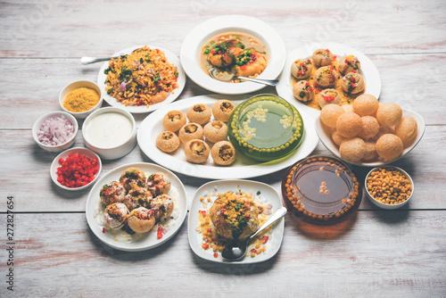 group of Bombay chat food includes golgappa/panipuri, bhel-puri, sev-poori, dahipuri, Ragda pattice, raj kachori etc Wallpaper Mural