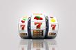 Leinwanddruck Bild - Illustration, Slot machines with lucky Jackpot of online casino element isolation on colorful background.