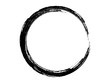 Grunge circle made of black paint.Grunge oval shape made for marking.Round shape made with art brush.