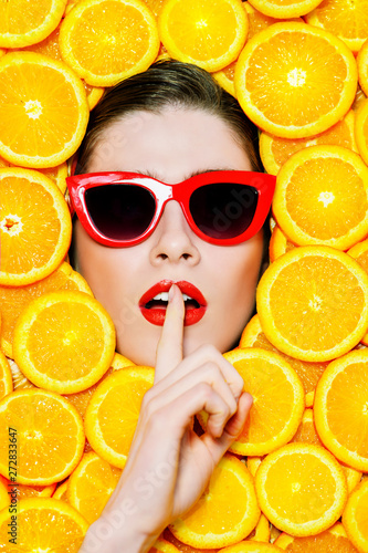 sunglasses and fruit Wallpaper Mural