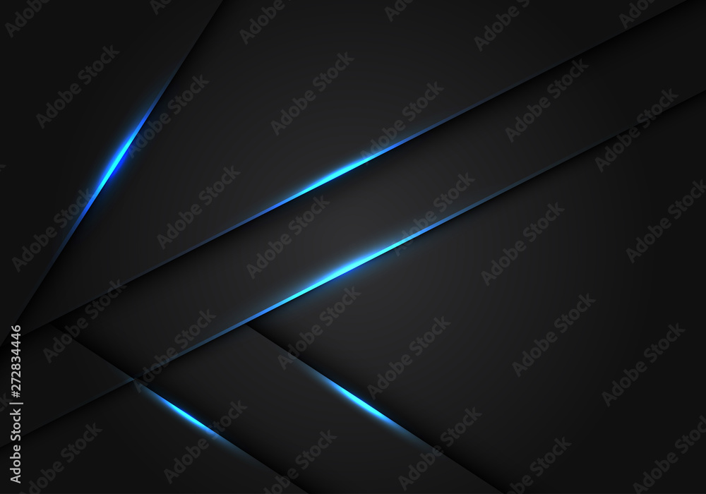 Fototapeta Abstract blue light dark grey metallic overlap design modern futuristic technology background vector illustration.