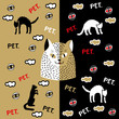 Muzzle of a cat on a gold background. Muzzle of a cat on a black background. The white cat is watching you. Cats in doodles. Seamless pattern with eyes and cats. Golden seamless pattern with animals