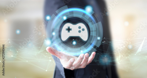 businessman with digital technology joystick glass concept