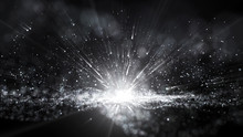 Abstract Black And White Dust Particle Glitter Sparks Bokeh Background, Lights Ray Shine Glow Beam In Black And White.