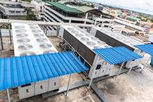 Industrail Free-cooling Chiller Air Conditioner On The Rooftop.