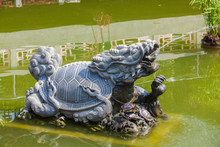Small Carved Turtle Stone Statue Fountain