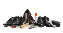Stylish Men's Footwear And Shoe Care Accessories On White Background
