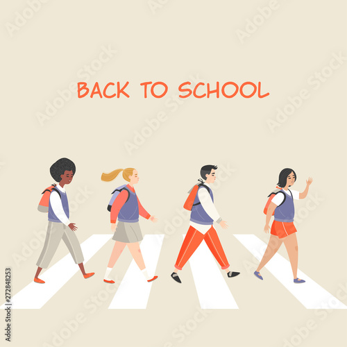 Leinwand Poster Pupils of different gender and nationalities going to school