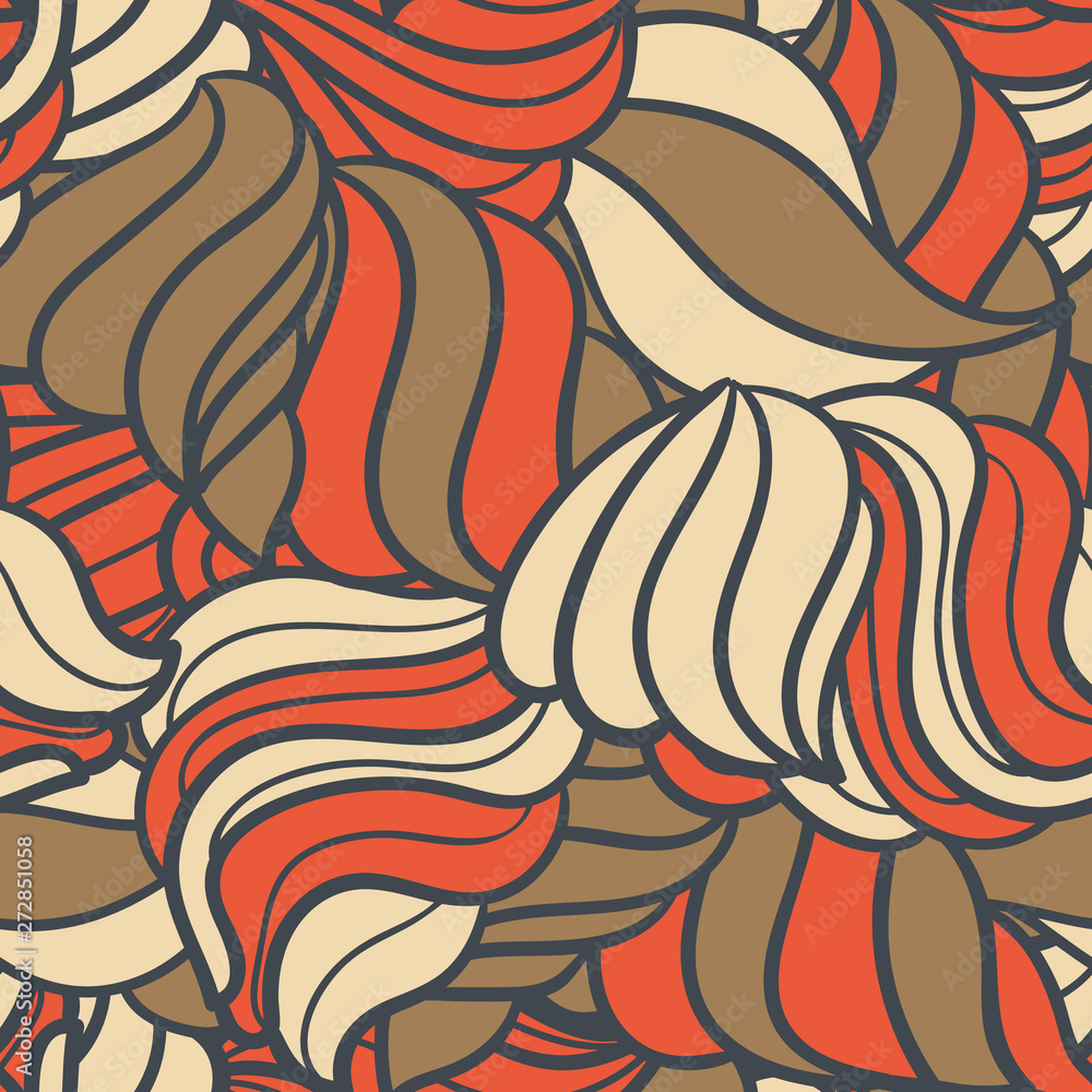 Cute linear wavy doodle seamless pattern. Hand drawn stripped background. Infinity geometric wrapping paper, fabric, textile. Vector illustration.