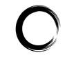 Grunge brush circle made of black paint.Grunge black ink circle made for marking.Round shape made with art brush.