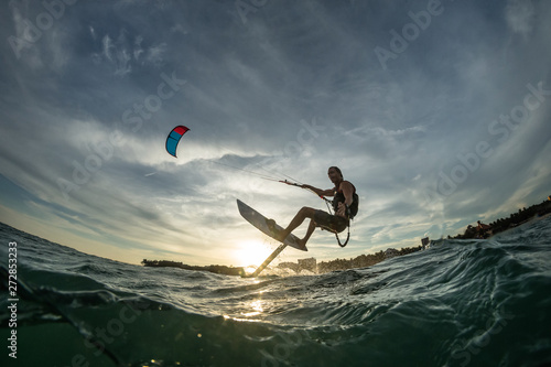 Surf rides Hydrofoilkite Canvas Print