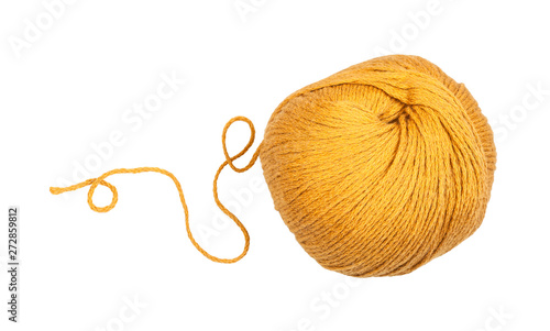 Canvastavla skein of yellow yarn with unwound tail isolated