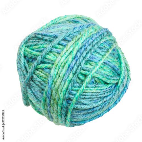 Fotografiet  skein of greenish blue melange yarn isolated