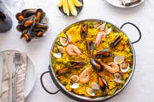 Top View Of Seafood Paella Wit...