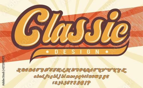 Classic design  3D vintage script font  Retro typeface