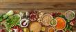Rustic panorama of fresh healthy vegetables