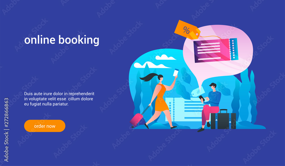 Fototapety, obrazy: online booking concept2