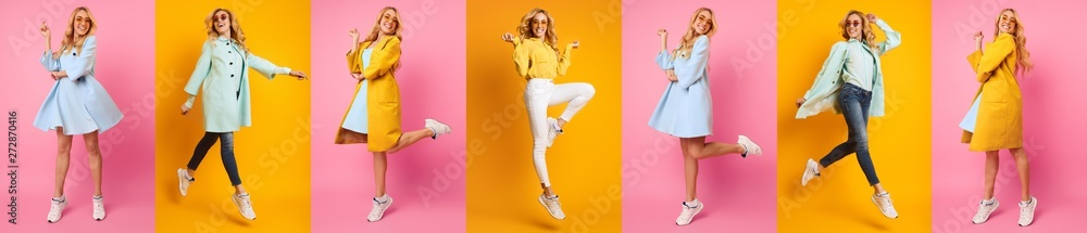 Fototapeta Casual Woman Jumping And Having Fun Against Colorful Backgrounds