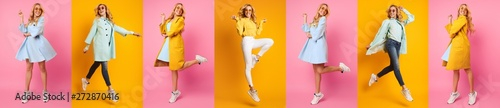 Obraz Casual Woman Jumping And Having Fun Against Colorful Backgrounds - fototapety do salonu