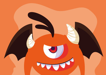 Orange monster cartoon design icon vector ilustration